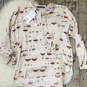 ZARA dragonfly blouse sz LARGE NWT